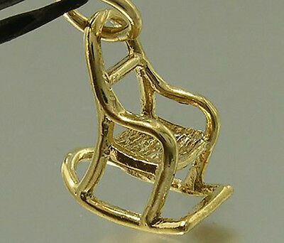 S C045 Genuine 9K Solid Yellow Gold Rocking Chair Maternity Charm 3D & Jumpring • 47.33£