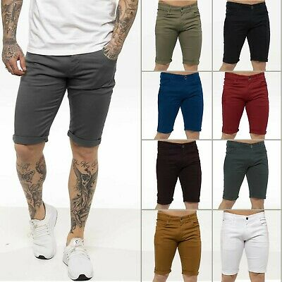 £13.99 • Buy Kruze Mens Chino Shorts Skinny Fit Stretch Cotton Casual Work Summer Half Pants