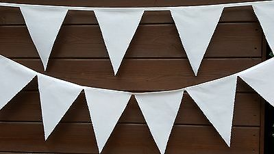 £0.99 • Buy PLAIN WHITE Fabric Bunting SOLD BY THE METRE  / Wedding Tea Party Christening