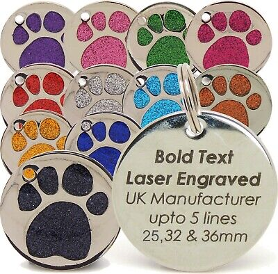Personalised Engraved Pet Tags, 25mm & 32mm Glitter Paw Print, Dog Tags, Cat Pet • 2.39£