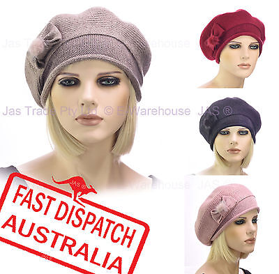 Ladies Woman 20s Fashion Wool Slouchy Chemo Headcover Beanie French Beret Hat • 10.50£