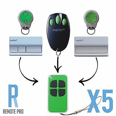AU48.60 • Buy 5 X Merlin+ C945/CM842/C943/C940 Bearclaw Plus Replacement Garage Remote