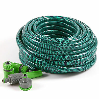 30m Reinforced Garden Hose Pipe Tube With Set Spray Watering Nozzle Set Fittings • 11.95£