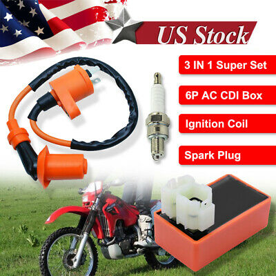 $9.75 • Buy Racing AC CDI Box 6 Pin+Ignition Coil +Spark Plug For GY6 50-150cc Moped Scooter