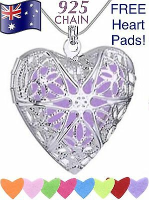 AU11.95 • Buy Heart Aromatherapy Essential Oil Diffuser Locket 24  925 Sterling Chain Necklace
