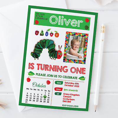 £6.95 • Buy 10 Personalised The Very Hungry Caterpillar Birthday Party Invitations Invites