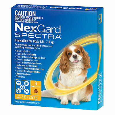 AU90.15 • Buy NexGard Spectra Chewables For Dogs Yellow 3.6 -7.5kg 6 Pack