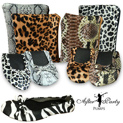 £6.45 • Buy Animal Print Roll Up Fold Pumps Flats After Party Shoes Pocket Foldable