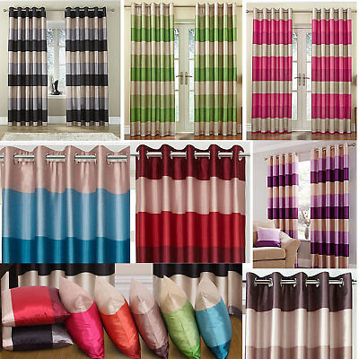 Rio Lined Printed Faux Silk Ring Top Curtains (Pair Of) - Choice Of Colour • 11.25£