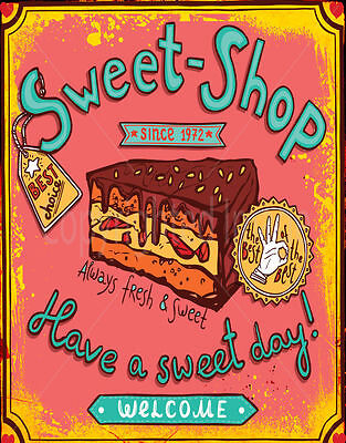 Sweet-shop  Since 1972    Large Metal Tin Sign Poster  Retro Style Plaque • 14.99£