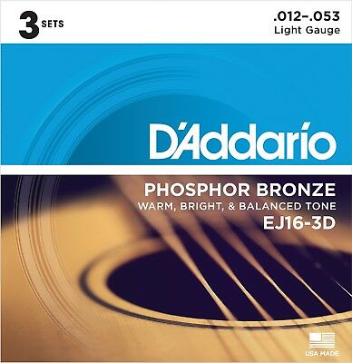$ CDN22.05 • Buy 3 Sets D'Addario EJ16-3D Phosphor Bronze Light Acoustic Guitar Strings
