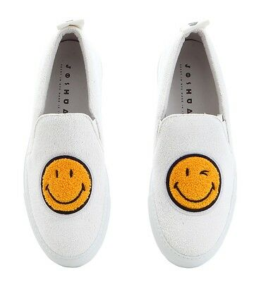 Joshua Sanders Women's Shoes White Smiley Face Slip On Made In Italy Size 35 36 • 214.57£