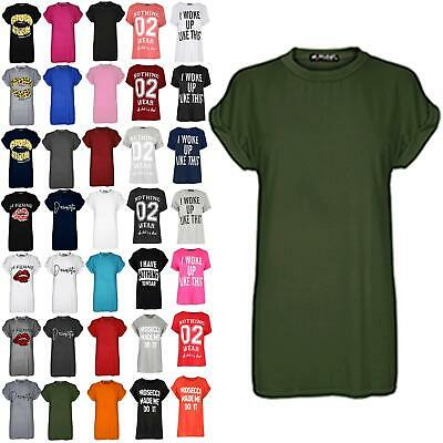 Womens Ladies Plain Stretch Baggy Oversized Short Turn Up Sleeve Tee T Shirt Top • 1.99£