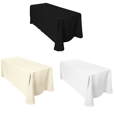 £11.09 • Buy 90 X132  Rectangle Plain Tablecloth Poly Cotton Wedding Dining Tableware Linen