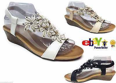 £12.99 • Buy Womens Girls Ladies Strappy Gladiator Cloth Daimente Casual Wedge Sandals Size