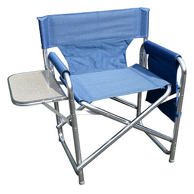 £52.99 • Buy Blue Sturdy Portable Travel Camping Folding Directors Chair With Pockets & Table