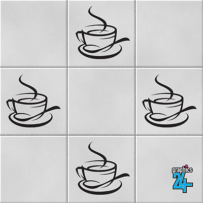 Coffee Cups Vinyl Wall Tile Stickers Decals Kitchen Home Decor • 4.49£