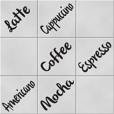 Coffee Words Vinyl Wall Tile Transfer Stickers Decals Kitchen Home Decor • 4.49£