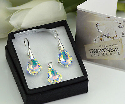 £14.99 • Buy 925 SILVER EARRINGS/SET MADE WITH SWAROVSKI CRYSTALS 16mm BAROQUE - CRYSTAL AB