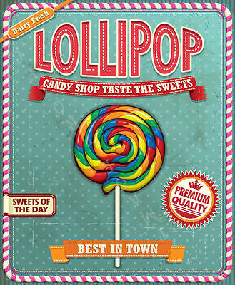 Lollipop  Candy Sweet Shop   Metal Tin Sign Poster Wall Plaque • 14.99£