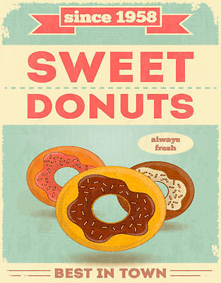 Sweet Donuts Since 1958   Metal Tin Sign Poster Wall Plaque • 14.99£
