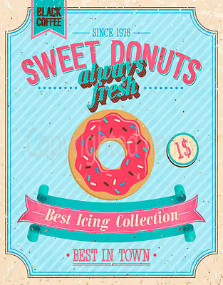 Sweet Donuts Since 1976 Large Metal Tin Sign Poster Wall Plaque • 6.99£