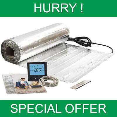 Electric Under Laminate & Wood Underfloor Heating Foil Heat Mats With Thermostat • 34.99£