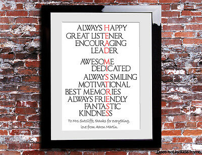 Personalised Head Mistress Word Thank You Picture Print Gift Leaving Present • 5.49£