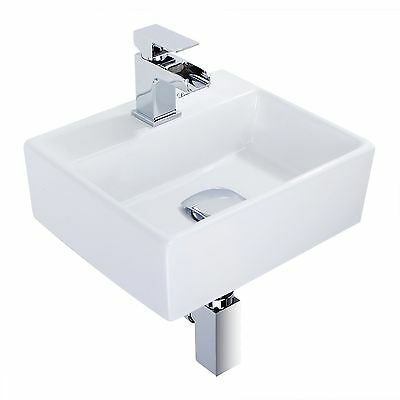 Modern Square Ceramic Small Compact Cloakroom Basin Wall Hung Bathroom Sink • 32.96£
