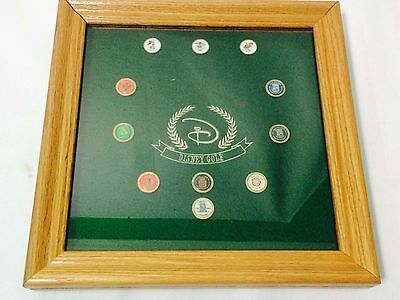 Disney Golf Display Shadow Box Case Oak Finish With 11 Vintage Golf Ball Markers • 48.76£