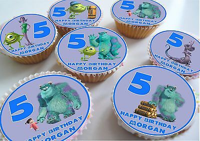 Monster's Inc Birthday/Thank You Edible Personalised Cupcake Toppers • 7.99£