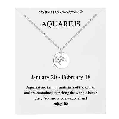 Aquarius Star Sign Disc Necklace Created With Swarovski® Crystals By Philip Jone • 8.95£