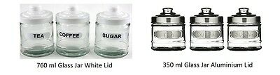 Round Glass Tea Coffee And Sugar  Canister Jars With Lid   • 10.49£