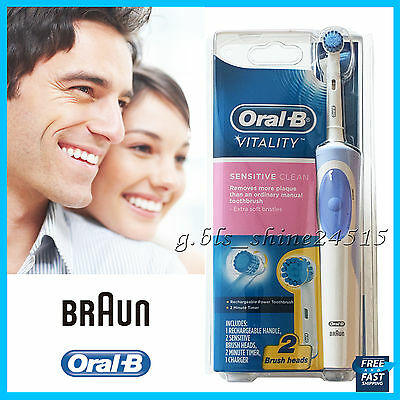 AU31.95 • Buy Oral-B Vitality Sensitive Electric Rechargeable Toothbrush 2 Brush Heads +Timer