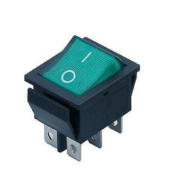 £3.95 • Buy 6 Pin Rocker Switch 15A Green ON-OFF Double Pole DPDT 240V