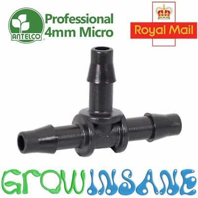 Antelco 4mm Barbed Micro Irrigation Tee Piece Fitting Pipe Tube Garden Automatic • 3.39£