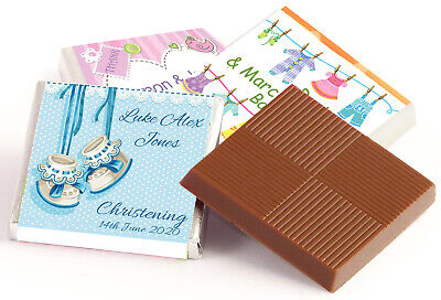 £11.85 • Buy 50 Personalised Chocolate Thank You Favours - Christening, Baby Shower Free Post