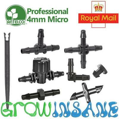 4mm Micro Irrigation Fitting Antelco Pipe Barbed Garden Watering Connector Valve • 2.95£