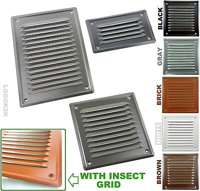 Metal Louvre Air Vent Grille Cover Metal Duct Ventilation White Brown Black Gray • 3.49£
