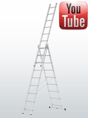 £227.34 • Buy Combi/Combination/Extension/Triple/Double/ 2 & 3 Section / Step Ladder 3x9 RUNG