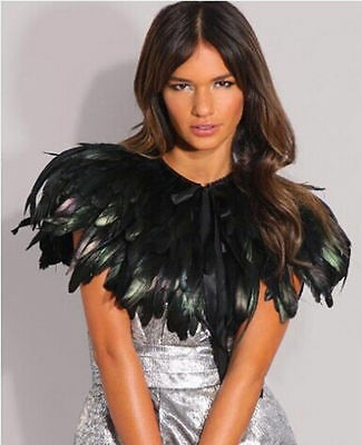 £5.99 • Buy Black Feather Sewing Trimming Collar Peacock Shawls Fringe Evening Dress Coque