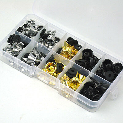 $ CDN35.32 • Buy 50 Sets Of Universal Guitar Strap Locks Nails Buttons + Screws + Pad W/ PVC Box
