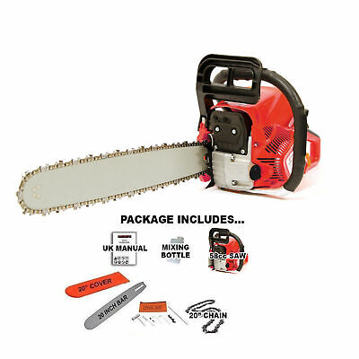 "View Details Heavy Duty 20"" 52cc Petrol Chainsaw Saw Cutter With Cover 2.2kw FREE SPARE CHAIN • 64.99£"