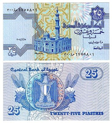 $7.99 • Buy 2004 Egypt 25 Piasters Uncirculated Replacement 300 Egyptian Note