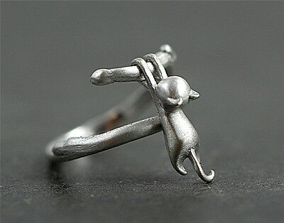 AU1.42 • Buy Lovely Cat Silver Plated Ring Kitty Pendant Women Party Finger Rings Jewelry