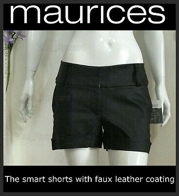 $19 • Buy Woman Faux Leather Smart Shorts, MAURICES Black, 2 Sizes: #7/8 And 9/10, NEW WT