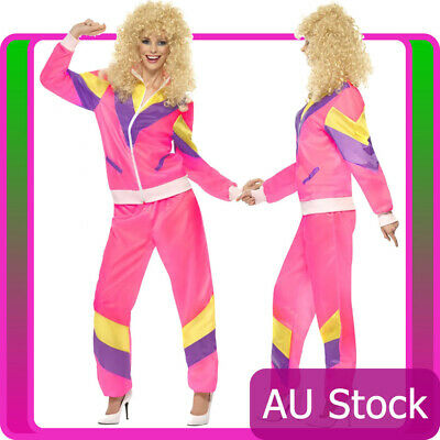 AU47.49 • Buy Womens 80s Height Of Fashion Pink Shell Suit Tracksuit 1980s Ladies 80's Costume