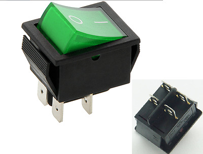 Rocker Switch 16A 240V, 20A 125V Green ON-OFF Double Pole 4 Pin  ILLUMINATED C2 • 2.99£