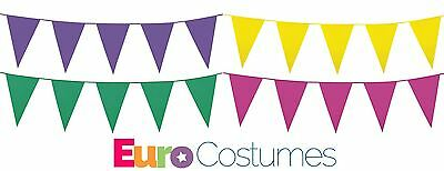 £3.42 • Buy 10m Giant Plastic Bunting Pennant Summer Garden Party Decoration 10 Colours