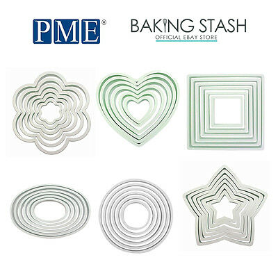 PME Set Of 6 Cutters Round, Square, Oval, Heart For Cookie, Sugarcraft, Biscuits • 3.39£
